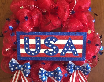 USA, 4th of July, Patriotic, Fourth of July, Red, White, Blue, Deco Mesh, Outdoor, Wreath