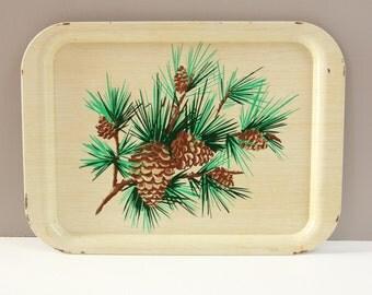 Vintage Metal Tray Pine Cone Rustic Holiday Decor-  1960s