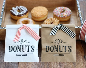 Wedding Favor Bags. Vintage Donut Bags. Wax Lined Bags.