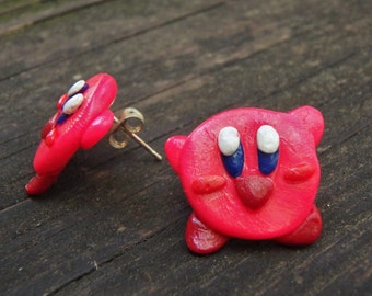 Cute Kirby Earrings, Nintendo Inspired, Video Game Geek Jewelry, Handmade Jewelry, Hypoallergenic