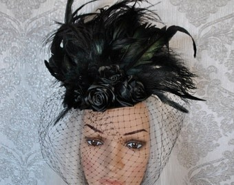 Gothic hat - Victorian hat - burlesque hat - hat with feathers - small hat - black hat - hat with roses - Fascinator - Mini Hat