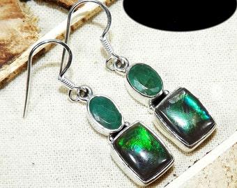 Ammolite Earring, Green Fire Ammolite, Emerald Earring, Emerald Gemstone,Real Emerald Earring, 925 Sterling Silver, Emerald Jewellery 930B
