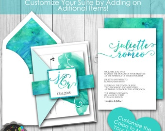 Turquoise Blue Green Watercolor Beach Printable Wedding Invitation Suite