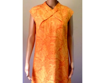 Vintage 1960's Mod Orange Paisley Print Sleeveless Summer Sheath Dress Fully Lined Criss Cross bodice Detail By Fabiola David Barr Size 12