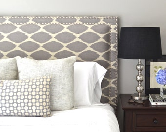 Upholstered Headboard, King, Queen, Full, Twin Size, Oxford Shaped, West Elm Ikat Fabric, Double Row Hammered Nickel Nailhead Trim