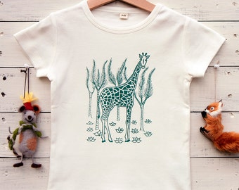 Kids Tshirt - Organic Cotton Toddler Shirt - Savannah Giraffe - Hand Printed Tshirt - Green on Natural White