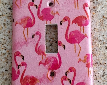 Pretty Pink Flamingos light switch cover