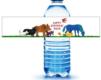 Brown Bear Water Bottle Label