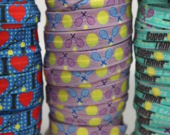 SALE***Tennis Raquet FOE -Fold Over Elastic 5/8 inch by the yard..Tennis Print FOE, Headbands, Hair Ties and More!