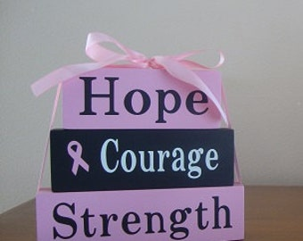 Breast Cancer Awareness wood block set - stacked set - october - pink - hope courage strength