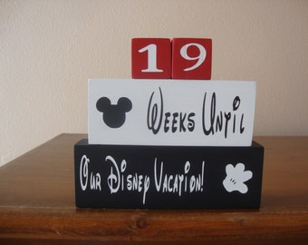 Disney countdown blocks REVERSIBLE Days Until Disney World Weeks until vacation countdown/Hand Painted/Disneyland Mickey Mouse Family decor
