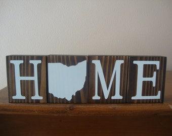 Ohio Blocks. Home Blocks. Ohio Decor. Home State Decor. Rustic Decor. Wood Blocks. OH Decor. OH Blocks