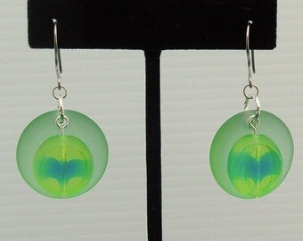 Vintage Vaseline Glass Bead Earrings