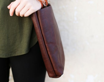 Brown Leather Bag, Leather Tote Bag, Leather Purse, Tote Bag (Small)