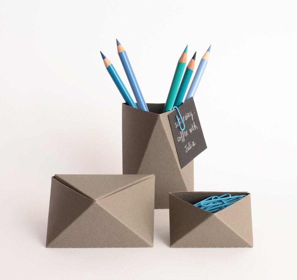 3box grey set home office set origami by kingkongdesignshop - Origami desk organizer ...