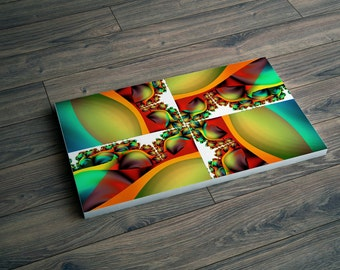 Large wall art, Teal abstract, Canvas art print, Teal home decor, Teal & Red, Green, Blue, Bedroom decor, Living room artwork, Decor