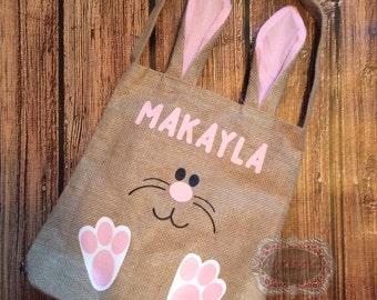 Easter Basket Personalized Easter Basket Burlap Bag Easter Bunny Holiday Bag Bunny Ear Basket Bunny Ear Bag