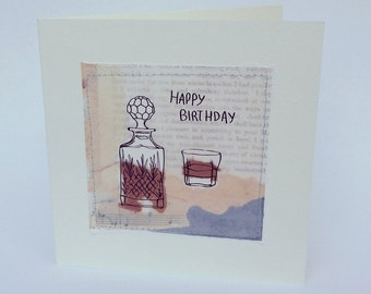 Handmade Collage Whiskey Greeting Card 'Happy Birthday' Blank inside