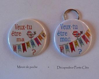 Duo Cadeau Parrain Marraine Veux-tu être mon parrain/ ma Marraine Décapsuleur Porte Clés.