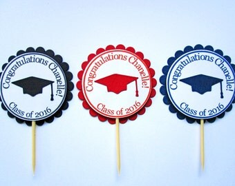 Graduation Cupcake Toppers -  Graduaton Party Decorations - Graduation Decorations - Class of 2017 - Grad Cupcake Toppers - Congrats Grad