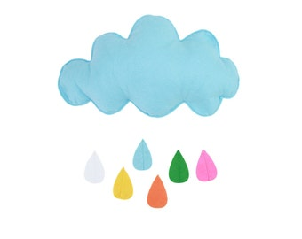 1 Felt Cloud Mobile / Wall Art - Blue with Multicolor Raindrops
