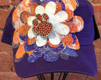 Women's Hand-Decorated Clemson University Themed Purple Military Style Hat