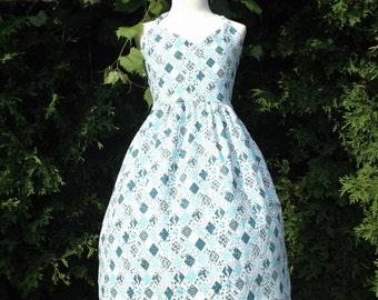 Sun Dress Halter Style Shirred Back Diamond Patchwork Print