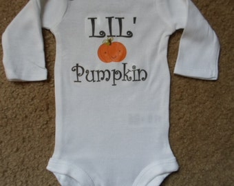 Ready to Ship Very Soft LIL' Pumpkin Onesie, Baby Clothes, Shower gift, Short or Long Sleeve available, Sizes Preemie-18 Months