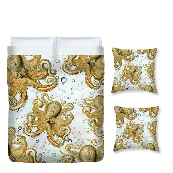 Octopus Bedding Duvet Cover Decorative Throw Pillow Set