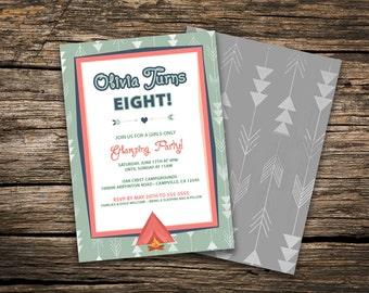Girl's Camping/Glamping Birthday Invitation