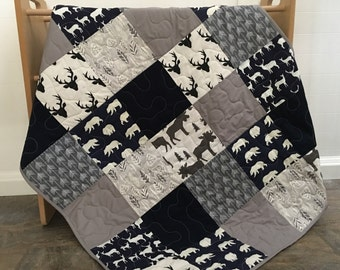 Woodland/southwest baby quilt in navy, gray, white, bears, deer, moose, arrows, leaves, birch fabrics