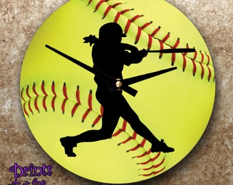 Softball Clock/Girls Softball Gift/Softball Batter Bedroom Wall Clock/Softball Batter Silhouette On Softball Photo Background Wall Clock