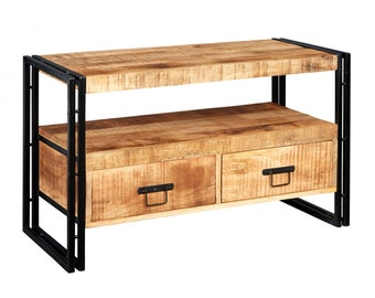 Bonsoni Baudouin Industrial Tv Stand Made From Reclaimed Metal And Wood