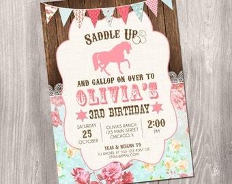 Horse invitation, Horse birthday invitation, shabby chic birthday, pony invitation, horse party, western invitation, Printable Invitation