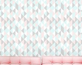 Summer SALE Self adhesive vinyl temporary removable wallpaper, wall decal -Pastel kaleidoscope Triangle cover - 068