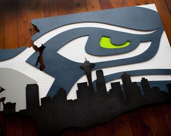 Seattle Seahawks Wood Flag, Seattle Seahawk Wooden Flag, Washington, Skyline, Wall Art, 12th Man, Man Cave, Seahawk, Seattle, Home Decor