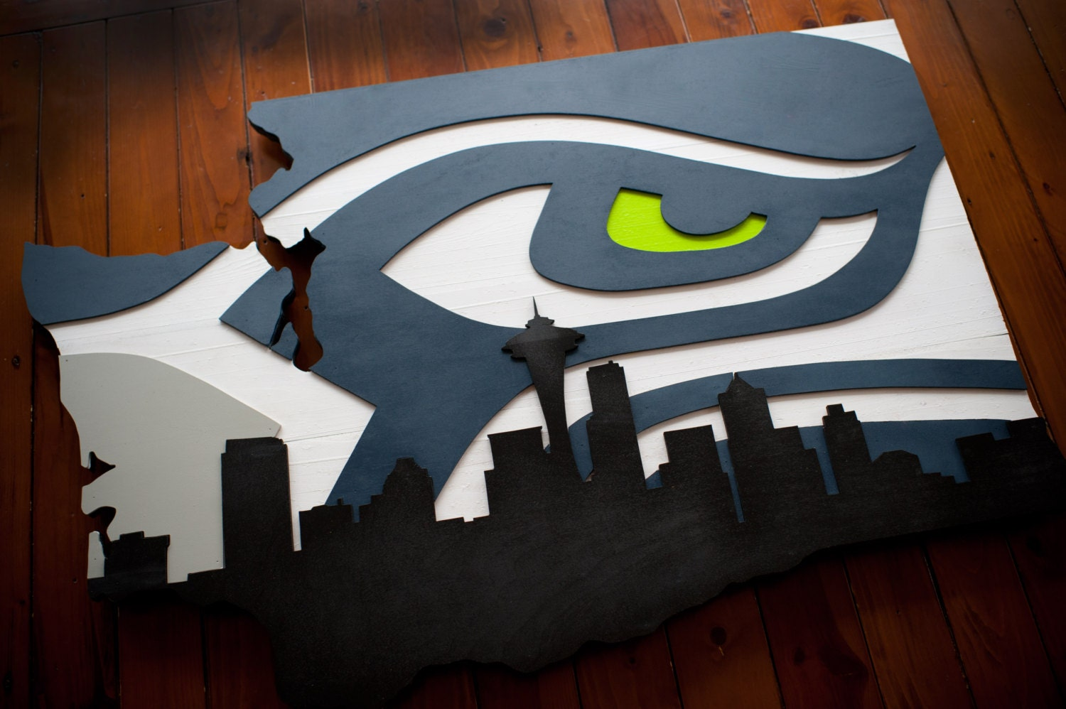 seattle seahawks wood flag seattle seahawk wooden flag washington skyline wall art - Seattle Home Decor