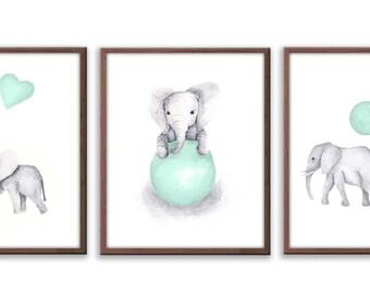 Nursery Wall Art, Kids Room Ideas, Kids Wall Art, Watercolor Art, Limited Edition Set Of Three Art Prints - SO61W