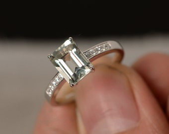 Natural Green Amethyst Ring Emerald Cut Engagement Ring Sterling Silver