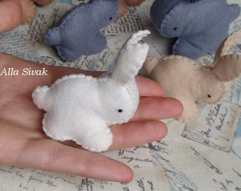 White Bunny Rabbits Felt Toys, baby bunny, Unique soft animal sculpture, Waldorf rabbit, Wool Bunny, Baby Rabbit Animal, Sweet bunny