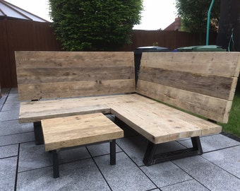 Industrial Reclaimed Wood Garden Corner Bench