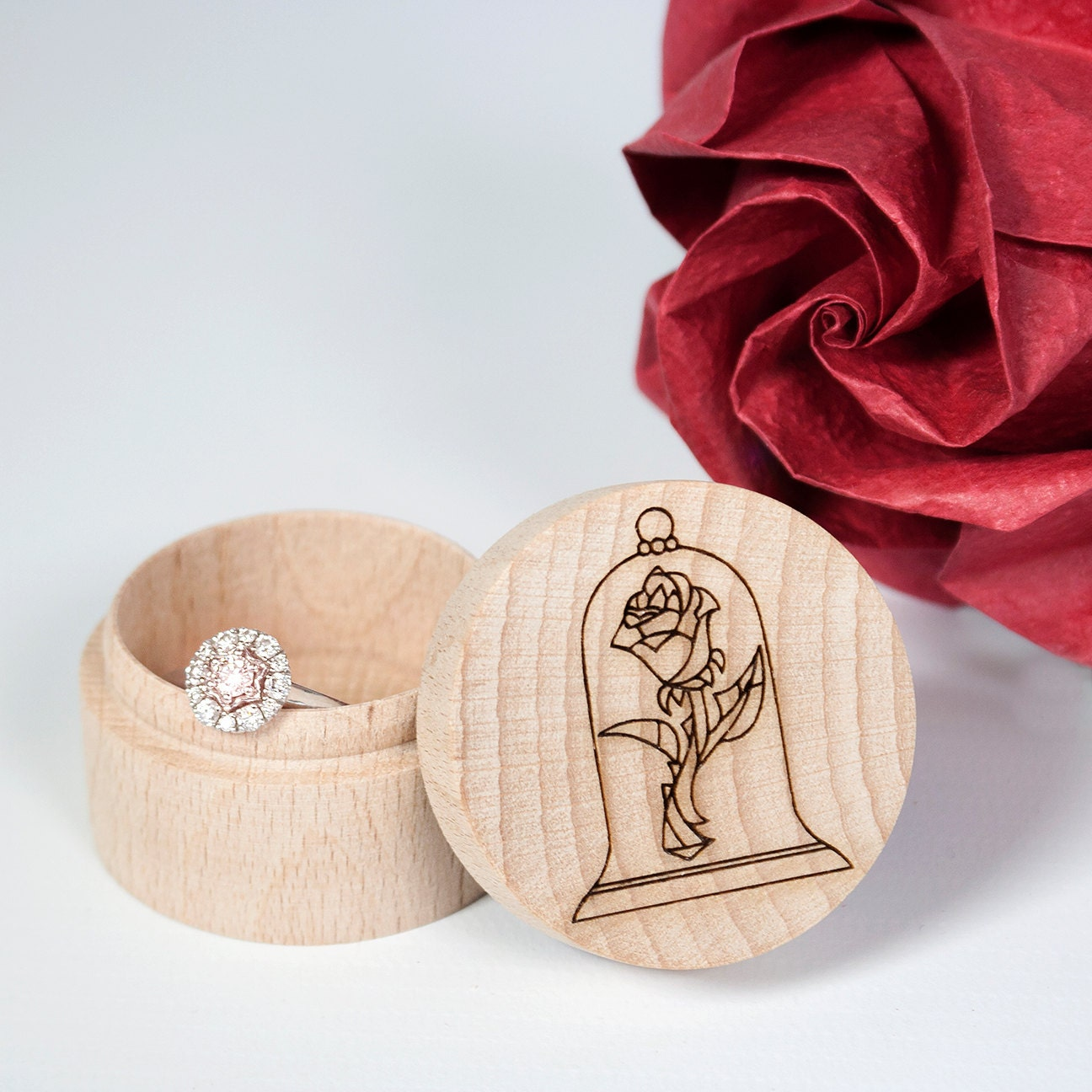 wooden ring box beauty and the beast engraved wedding ring box disney wedding - Disney Wedding Ring