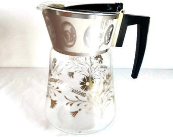 Vintage David Douglas Coffee Carafe - clear glass, gold, floral, 10 coffee cup capacity - pitcher, server,tea, flameproof,mid century modern