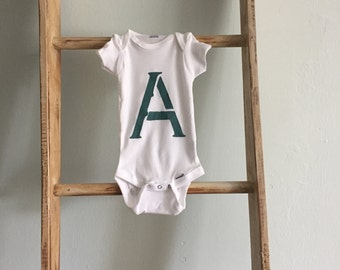 Hand Painted Letter Baby Bodysuit - A