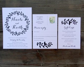 Rustic leaf wedding invite, Invitation Suite, Black and White, Rustic leaf design