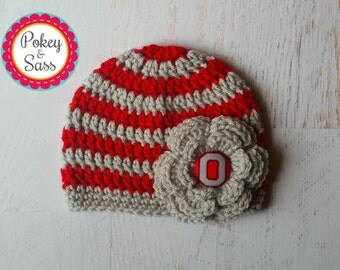 Ohio State University Striped Flower Crochet Baby Toddler Hat Beanie, Scarlet and Gray