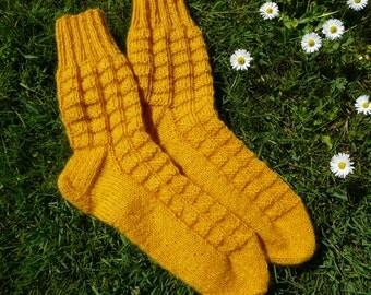 Hand knitted socks, wool socks, men socks, yellow socks, size US 8-9 / 26-27cm