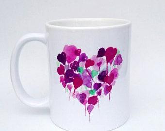 Purple Hearts Mug - Handmade Art, Watercolour Artist Mug. Heart Mug. Balloons. Personalised. Mothers Day Gift. Mug and Card Set.