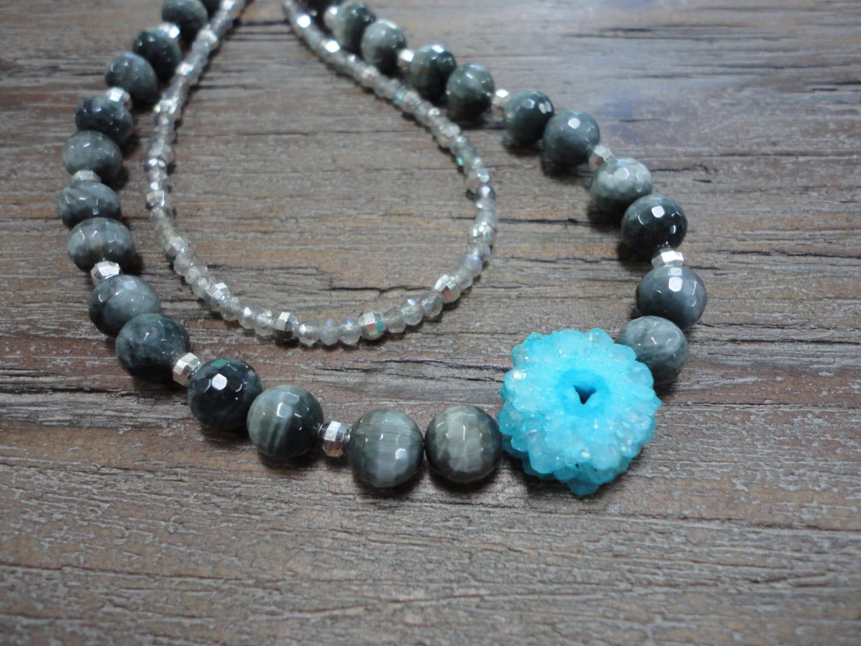 Aqua Solar Quartz Gray Hawks Eye Labradorite Sterling Silver Double Strand Necklace/Aqua/Gray/Sterling Silver/Extension Chain