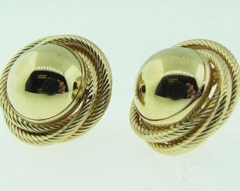 Vintage 14 K gold Button earrings.